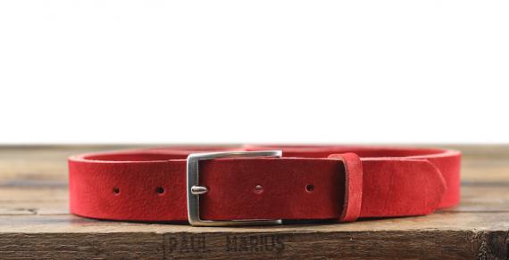 LaCeinture Magnifique Nubuck - 30mm - Rouge Carmin